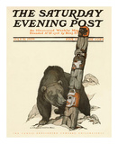 Black Bear with Totem Pole, c.1909 Prints by Charles Livingston Bull