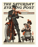 Motorcycle Cop and Kids, c.1922 Art by Joseph Christian Leyendecker