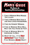 Guide to Lasting Relationships - Man Pltskylt