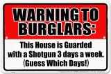 Warning to Burglars Plakietka emaliowana