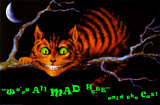 We zij hier allemaal gek, kat in boom met tekst: We're All Mad Here Poster