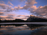Pastel Shades of Dusk Over Mt. Rundle and Vermilion Lake, Banff National Park, Alberta, Canada Photographic Print by Mark Newman