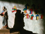 Sculpture and Wall Painting in Church, Solentiname Archipelago, Esteli, Nicaragua Photographic Print by Eric Wheater