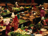 Food Stalls and People at Central Market, Kota Bharu, Kelantan, Malaysia Photographic Print by Richard I'Anson