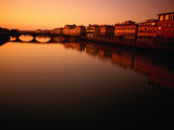 Sunset Over Arno River Seen from Ponte Santa Trinita, Florence, Italy Photographic Print by Damien Simonis