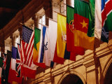 Flags on Publishing Society Building, Boston, Massachusetts, USA Photographic Print by Lou Jones