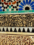 Decorative Tile Work on Mausoleum in Garden of Saadan Tombs, Marrakesh, Morocco Photographic Print by Damien Simonis