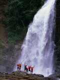 Tourists at Waterfall at Chiriqui Viejo River, Panama Photographic Print by Alfredo Maiquez