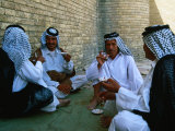 Men Drinking Tea Outside the Holy Shrine of the Imam Ali Ibn Abi Talib, an Najaf, Iraq Photographic Print by Jane Sweeney