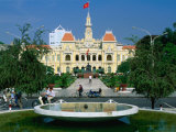 People Riding Bikes Past Fountain and Town Hall, Ho Chi Minh City, Ho Chi Minh, Vietnam Photographic Print by Anders Blomqvist