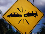 Road Sign Warning of Car Crashes, Panama City, Panama Photographic Print by Charlotte Hindle