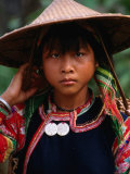 Portrait of Young Woman in Traditional Costume, Vietnam, Photographic Print