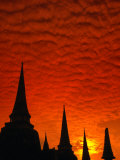 Brilliant Sunset Clouds Blanket the Sky Over the Chedis of Wat Phra Si Sanphet, Thailand Photographic Print by Anders Blomqvist