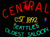 Neon Sign of Central Saloon, Seattle, Washington, USA Photographic Print by Lawrence Worcester
