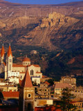 Churches in Village with Mountains Behind, Bcharre, Lebanon Photographic Print by Bethune Carmichael
