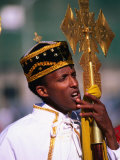 Boy Deacon on Duty at Meskal Festival Wearing Traditional Priestly Garb, Asmara, Eritrea Fotografisk tryk af Frances Linzee Gordon