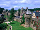 Fortified Walls of Stone, Chateau at Fougeres, Fougeres, France Photographic Print by John Elk III