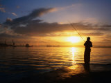 Fishing on Bahia De La Habana, Havana, Cuba Photographic Print by Peter Ptschelinzew