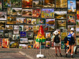 Paintings at Open Air Gallery at Florian Gate, Krakow, Poland Photographic Print by Krzysztof Dydynski
