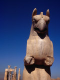 Eagle-Headed Griffin Statue Stands Guard Over Ruins, Persepolis (Takht-E Jamshid), Fars, Iran Photographic Print by Jane Sweeney