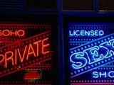 Neon Signs in Windows of Soho Sex Shop, London, United Kingdom Photographic Print by Charlotte Hindle