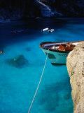 Boat in Water of Cala De Mariolu, Golfo Di Orosei, Italy Photographic Print by Damien Simonis