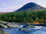 Sjoa River Flowing Past Forest at Foot of Sjolikampen Hill, Norway Photographic Print by Anders Blomqvist