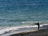 Man Beach Fishing, Baie of Audieme, Finistere, France Photographic Print by Jean-Bernard Carillet