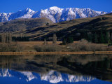 Snow-Capped Mountains Reflected in Lake Hayes, Near Arrowtown, Queenstown, Otago, New Zealand Photographic Print by David Wall
