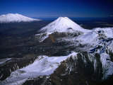 Mt. Ruapehu, Mt. Ngauruhoe and Mt. Tongariro, Tongariro National Park, New Zealand Photographic Print by David Wall