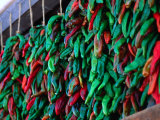 Green and Red Chillies Hanging Out to Dry Santa Fe, New Mexico, USA Photographic Print by John Hay