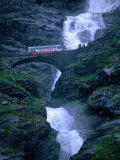 Bridge Crossing Waterfall on Trollstigen Road, Andalsnes, Norway Photographic Print by Anders Blomqvist