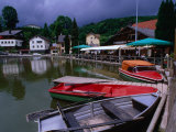 Boats, Inn and Restaurant Above Waterfall Trail in Black Forest, Triberg, Germany Photographic Print by Johnson Dennis