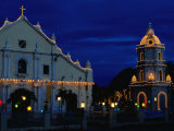 Christmas Lighting on the Cathedral of St. Paul and Tower, Vigan, Philippines Fotografiskt tryck av Mark Daffey