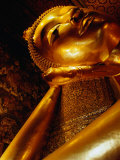 Detail of Reclining Buddha's Head at Wat Pho, Bangkok, Thailand Photographic Print by Ryan Fox