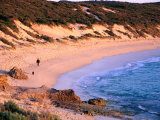 Figure Walking with Dog on Beach South of Gnarabup Beach Near Margaret River, Australia Photographic Print by Trevor Creighton