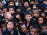 Local Schoolchildren Gathering for Group Photograph, Thimphu, Thimphu, Bhutan Photographic Print by Richard I'Anson