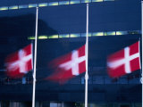 Danish Flags Flying Outside the Black Diamond Building, Copenhagen, Denmark Photographic Print by Martin Moos
