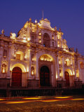 Facade of Cathedral De Santiago at Night, Antigua Guatemala, Guatemala Photographic Print by Ryan Fox