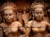 Carvings at Terrace of Leper King Angkor, Siem Reap, Cambodia Photographic Print by Glenn Beanland