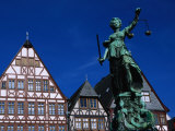 Statue on Romerplatz, Frankfurt-Am-Main, Hesse, Germany Photographic Print by Johnson Dennis