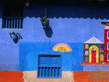 Detail of Side of House, Raquira, Colombia Fotoprint van Krzysztof Dydynski
