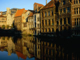 Buildings Reflected in the Still Waters of a Canal, Gent, Belgium Photographic Print by Mark Daffey