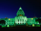 Minnesota State Capitol Lit Up at Night, Minneapolis, USA Photographic Print by John Elk III