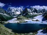 Lac Blanc ja Mont Blancin massiivi Mont Blancin turneella, Haute Savoie, Mont Blanc, Ranska Valokuvavedos tekijänä Gareth McCormack