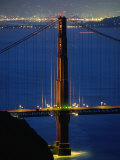 Golden Gate Bridge at Night, San Francisco, California, USA Photographic Print by Stephen Saks