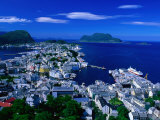 Town Buildings and Surrounding Water from Aksla, Alesund, Norway Photographic Print by Anders Blomqvist