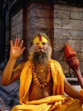 Sadhu Sitting on a Stone Chaitya on the Eastern Banks of the Bagmati River, Pashupatinath, Nepal Photographic Print by Ryan Fox