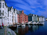 Houses and Moored Boats along Brosundet, Alesund, Norway Photographic Print by Anders Blomqvist