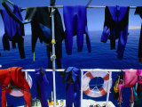 "Wetsuits Drying on ""Live-Aboard"" Dive Boat in Straits of Gubal, Egypt Photographic Print by Jean-Bernard Carillet"